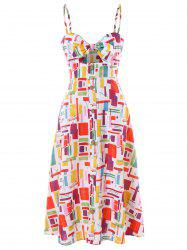 Knot Front Cut Out Print Dress -