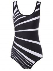 Striped One Piece Modest Swimwear -