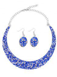 Shiny Rhinestone Crystal Choker Necklace Earrings Suit -