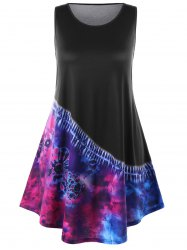 Plus Size Sleeveless Tie Dye Dress -
