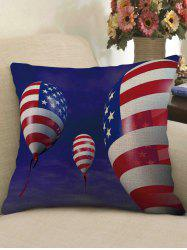 American Flag Balloon Print Decorative Linen Sofa Pillowcase -