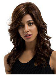 Long Inclined Bang Wavy Colormix Human Hair Wig -