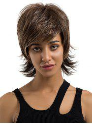 Short Side Bang Layered Straight Outwards Colormix Human Hair Wig -