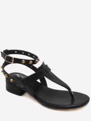 Casual T Strap Studs Ankle Strap Thong Sandals -