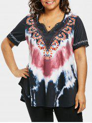 Plus Size Tie Dye Curved Hem T-shirt -