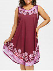 Plus Size Tiny Floral Curved Hem Dress -