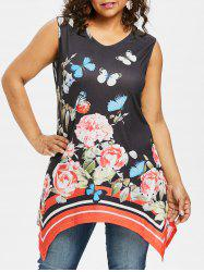 Plus Size V Neck Butterfly Sleeveless Top -