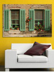 Wooden Window Flower Print Wall Sticker for Bedrooms -