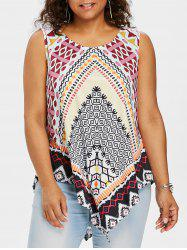 Plus Size Ethnic Print Asymmetric Tank Top -