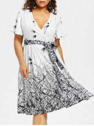 Plus Size Knee Length Surplice Dress -