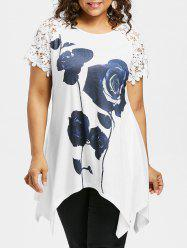 Plus Size Rose Lace Raglan Sleeve T-shirt -