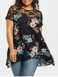 Lace Panel Plus Size Floral Blouse -