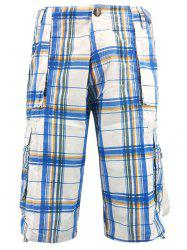 Drawstring Edge Check Pattern Cargo Shorts -