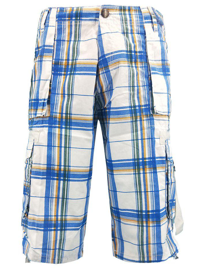 Trendy Drawstring Edge Check Pattern Cargo Shorts