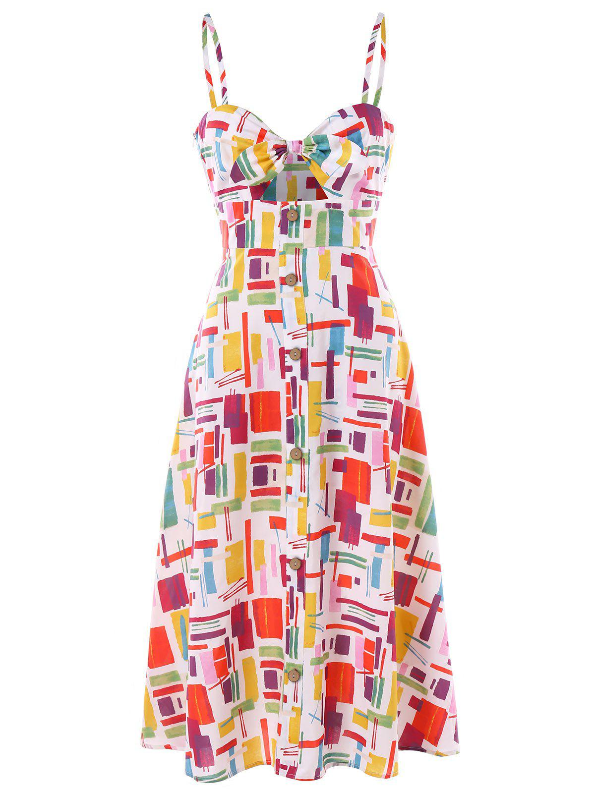 Fashion Knot Front Cut Out Print Dress