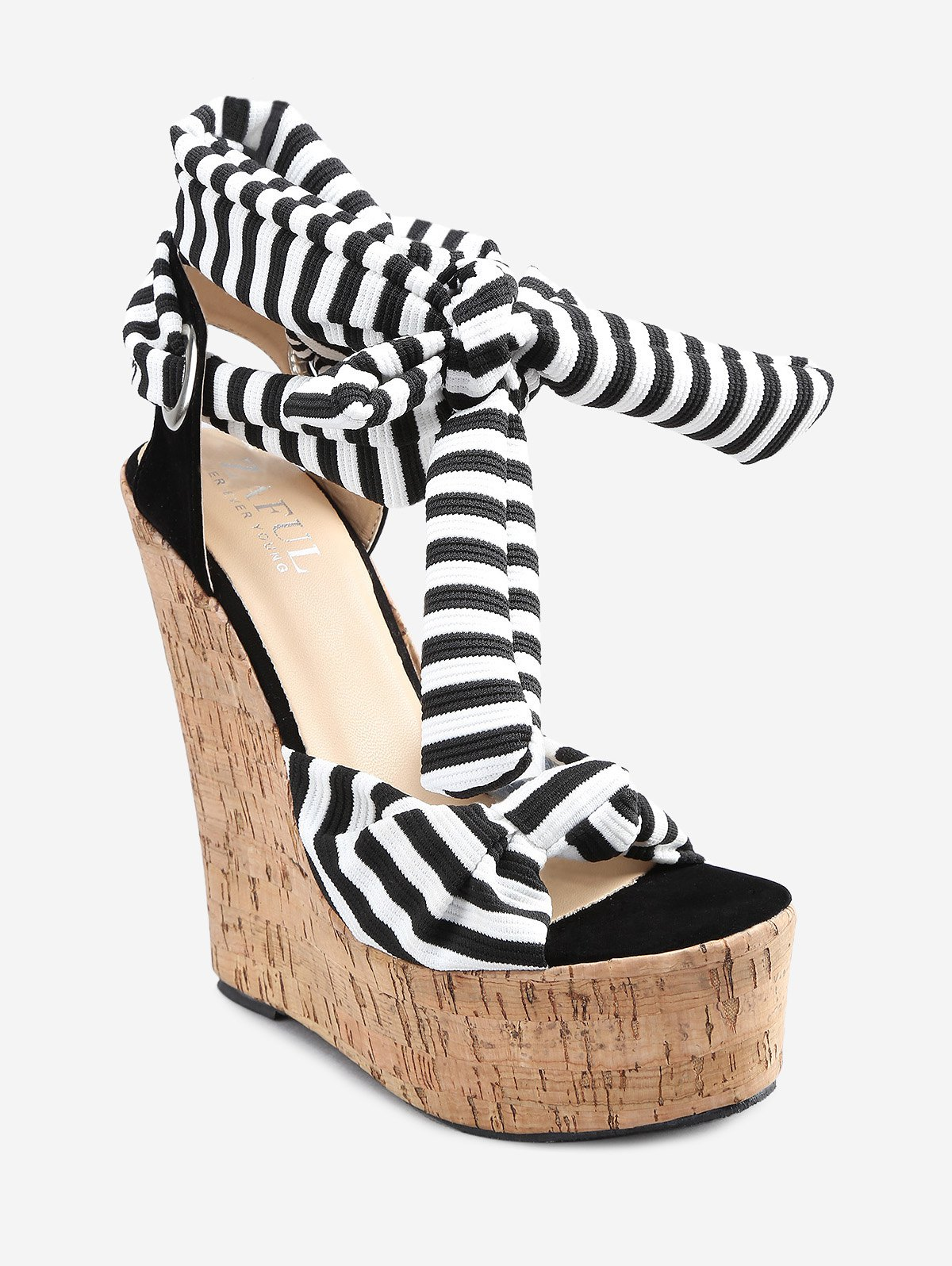 Buy Know Wedge Heel Striped Ankle Strap Sandals