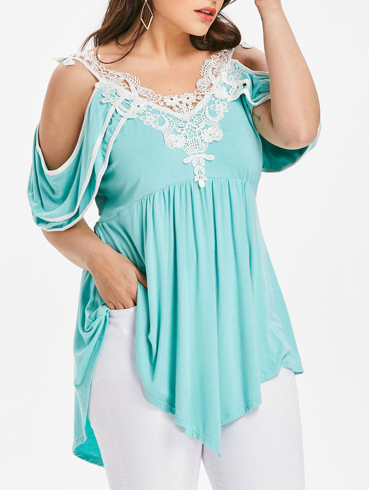Chic Plus Size Tiered Sleeve Cold Shoulder T-shirt