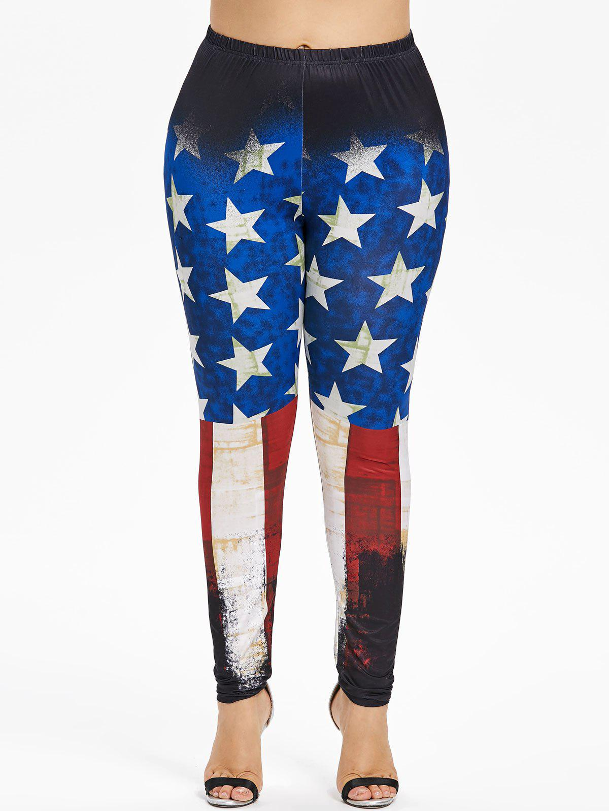 Discount Plus Size Splatter Paint American Flag Leggings