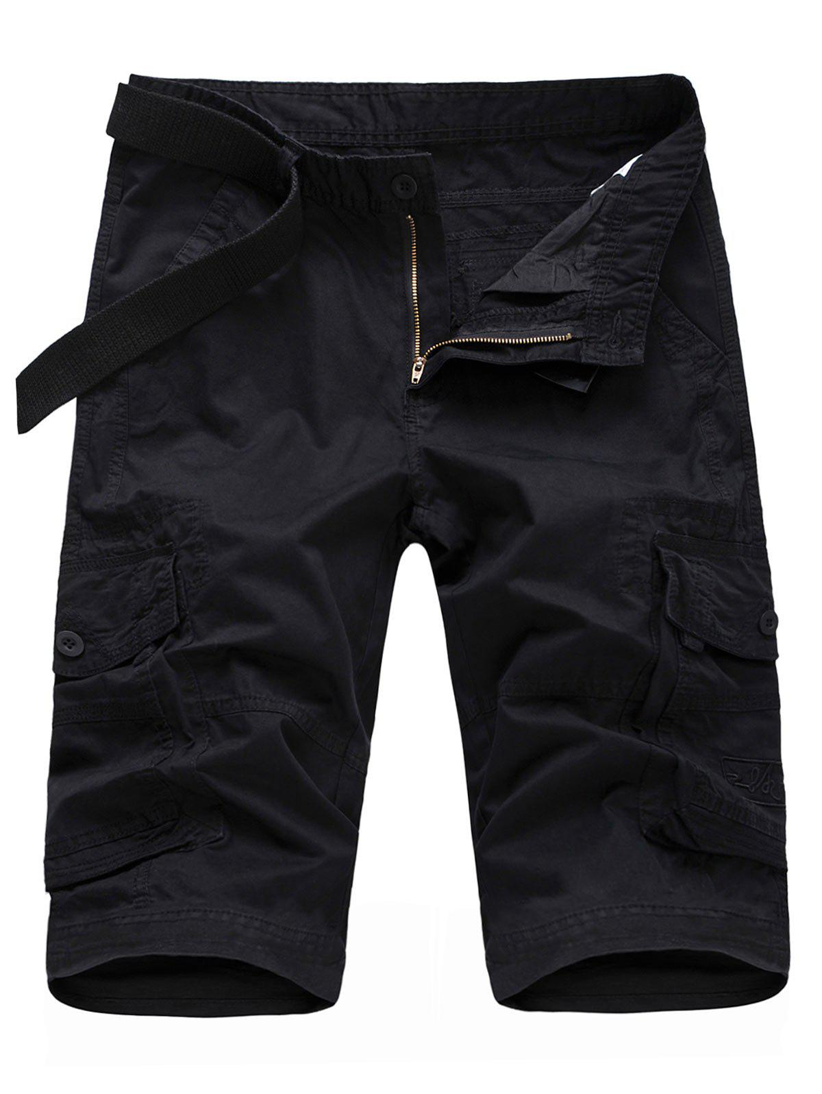 Buy Casual Flap Pockets Zipper Fly Cargo Shorts