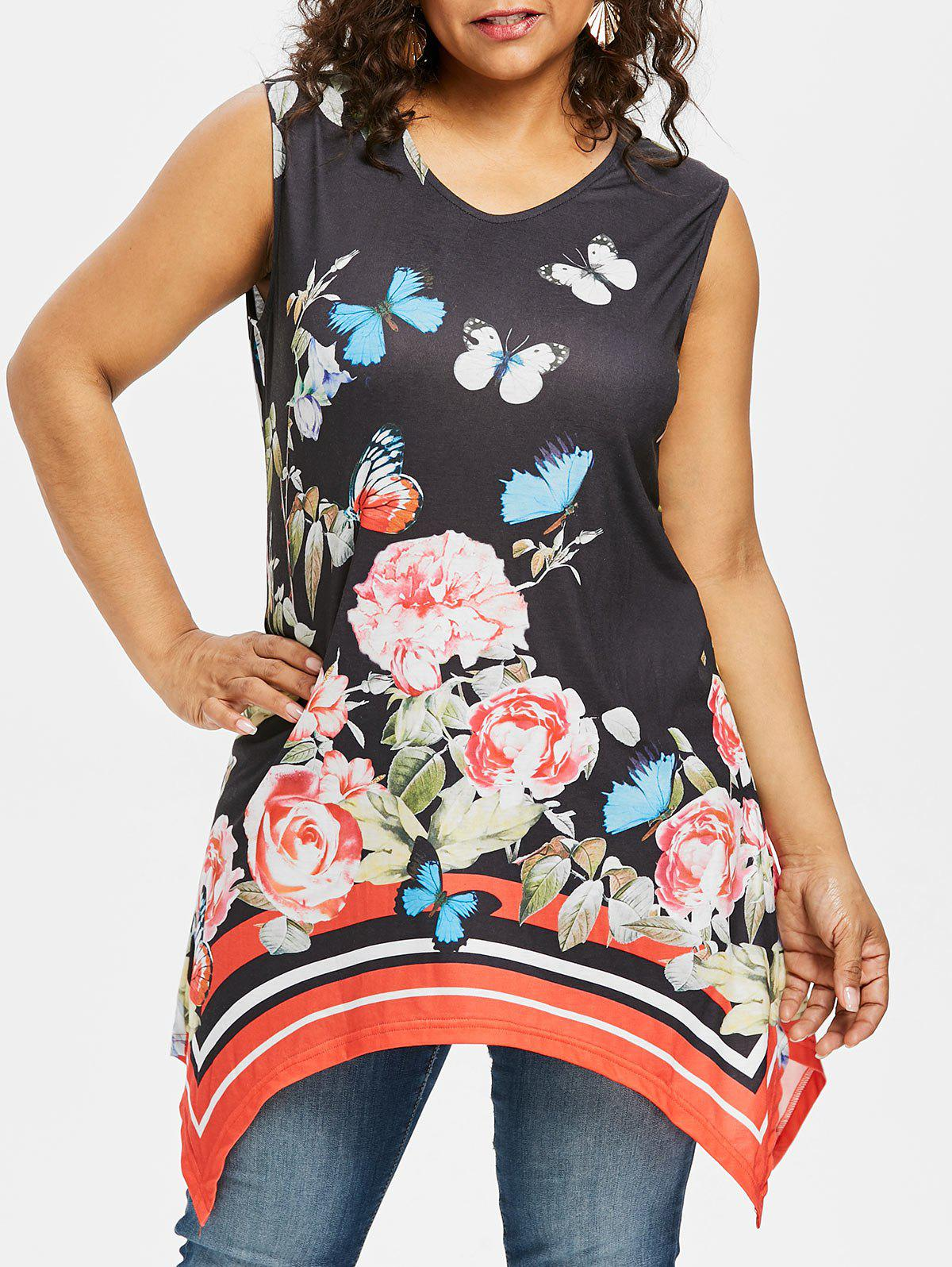 Best Plus Size V Neck Butterfly Sleeveless Top