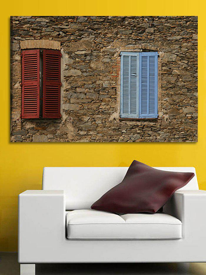 Cheap Stone House Window Print Wall Sticker for Bedrooms