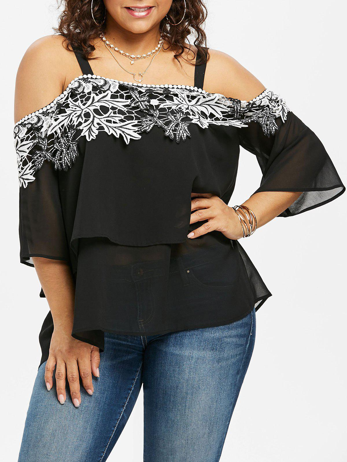 Sale Plus Size Flare Sleeve Layered Blouse