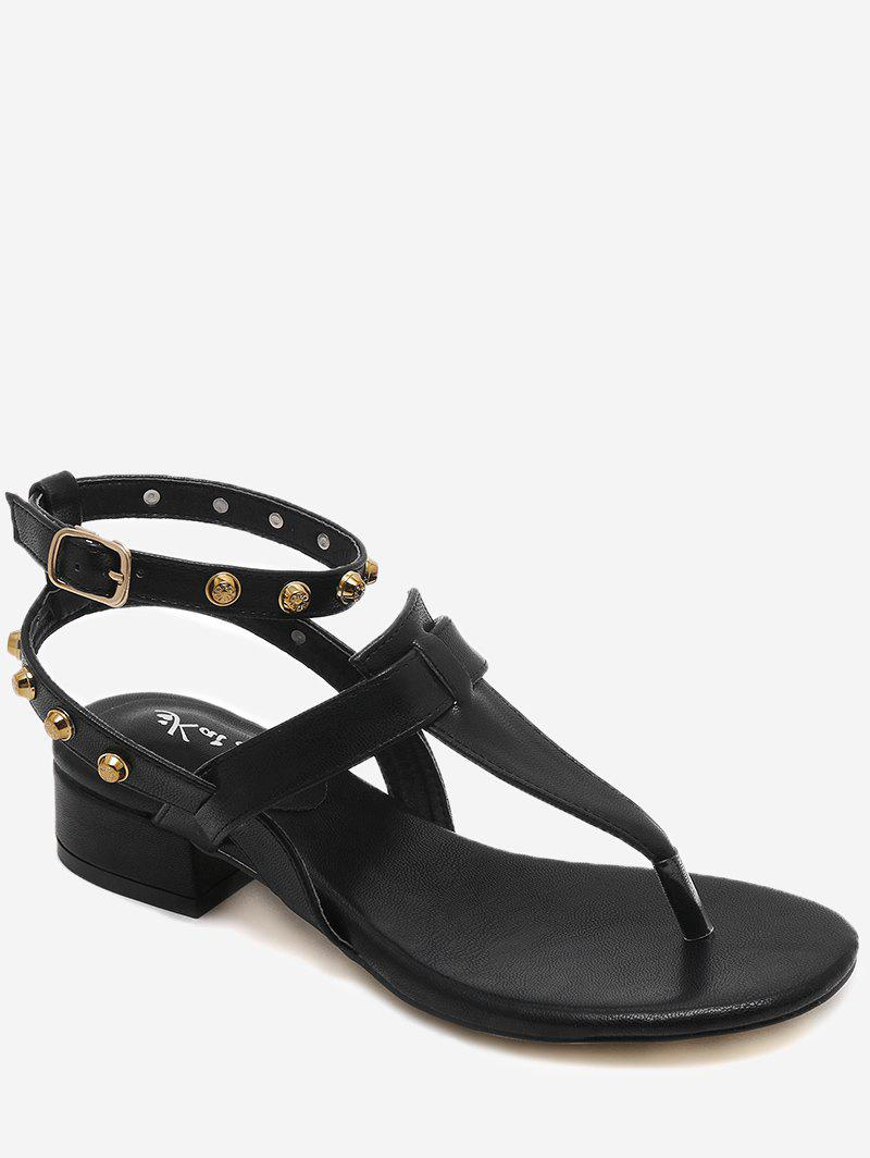 Buy Casual T Strap Studs Ankle Strap Thong Sandals