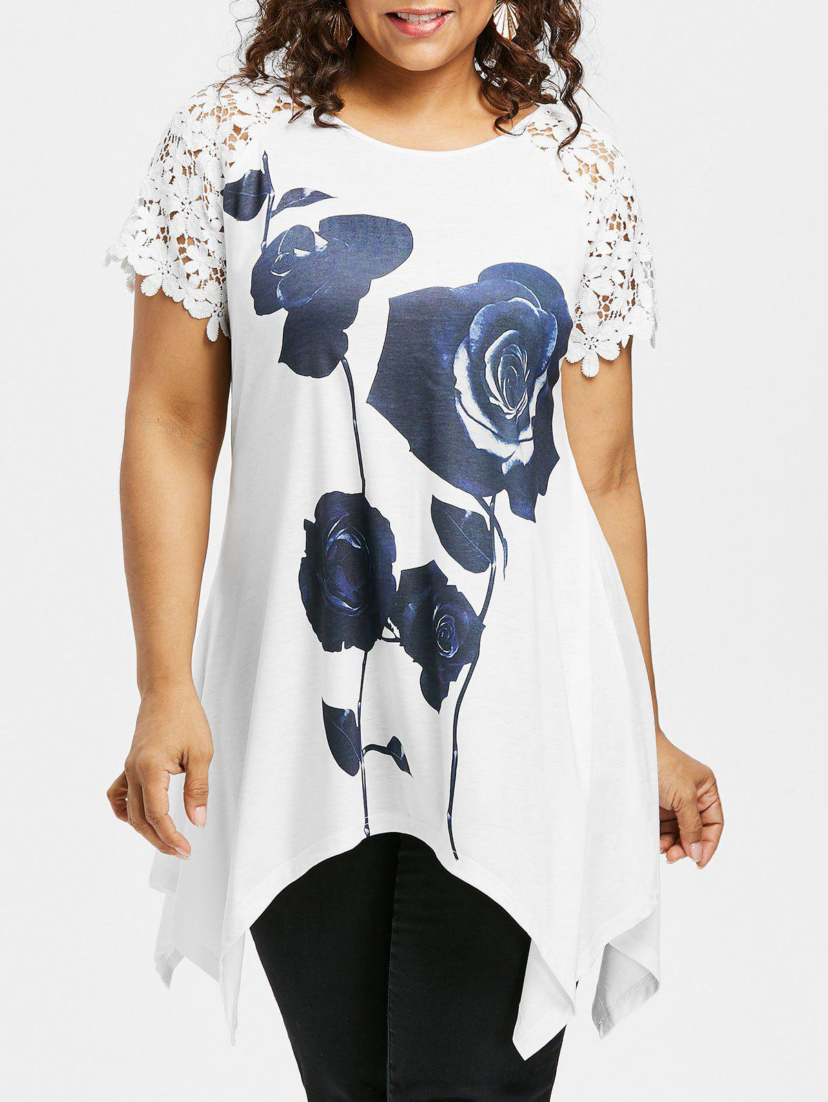 Fashion Plus Size Rose Lace Raglan Sleeve T-shirt