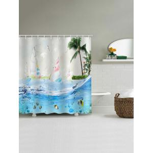 Sailboat Seabed Print Waterproof Shower Curtain -