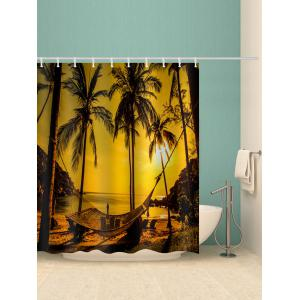 Coconut Palm Sunset Print Waterproof Shower Curtain -