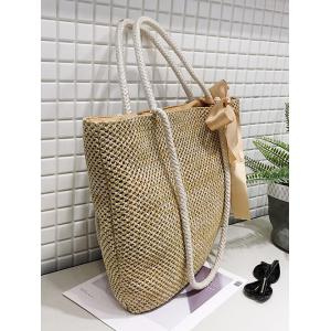 Outdoor Shopping Vacation Straw Bow Tote Bag -
