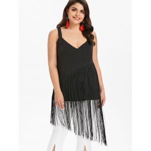Plunging Neck Plus Size Fringe Insert Top -