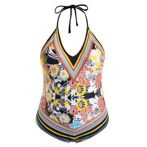 Plus Size Flower Halter Swimsuit -