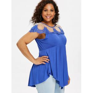 Plus Size Eyelash Lace Trim Drape T-shirt -
