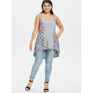 Plus Size Floral High Low Tank Top -