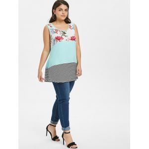 Floral and Striped Print Plus Size Tank Top -