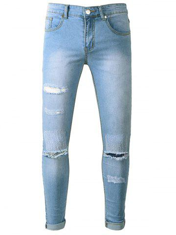 Zipper Fly Scratches Hole Jeans