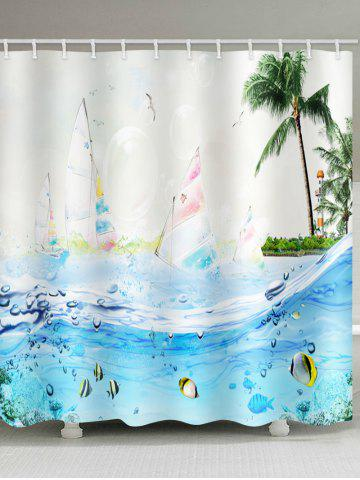 Online Sailboat Seabed Print Waterproof Shower Curtain