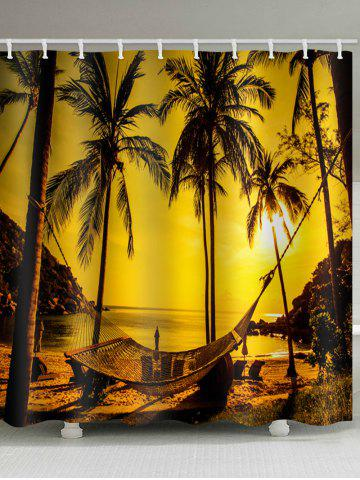 Fancy Coconut Palm Sunset Print Waterproof Shower Curtain