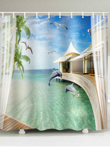Outfit Sea Hut Dolphin Printed Waterproof Bath Curtain