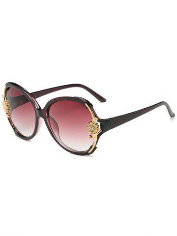 Chic Anti Fatigue Carving Floral Oversized Sunglasses