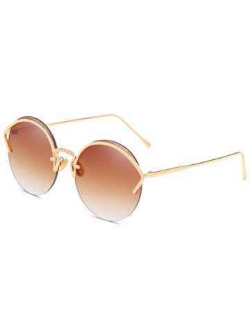 Best Unique Metal Half Frame Round Sunglasses