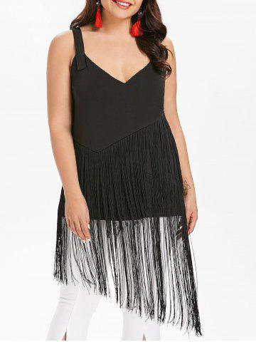 Affordable Plunging Neck Plus Size Fringe Insert Top