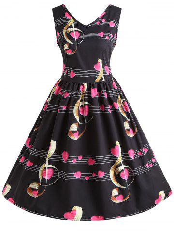 Fashion Musical Notes Heart Print Vintage Dress