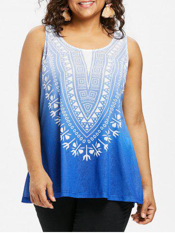 Printed Plus Size Ombre Tank Top - Silk Blue - 2x