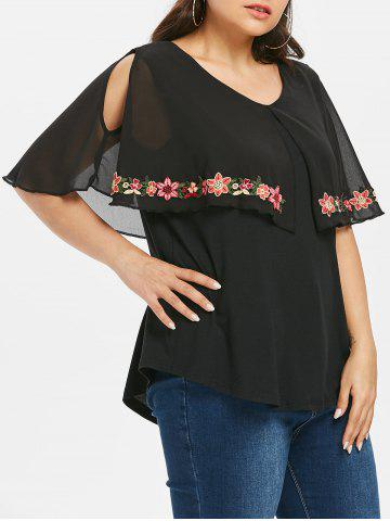 New Plus Size Flower Embroidered Capelet T-shirt