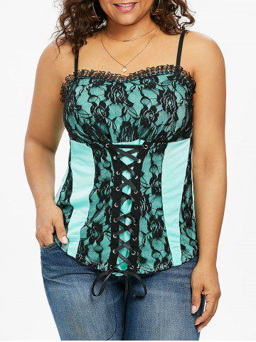 Hot Plus Size Lace Up Empire Waist Tank Top