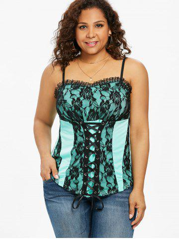 22012a65abf Plus Size Lace Up Empire Waist Tank Top