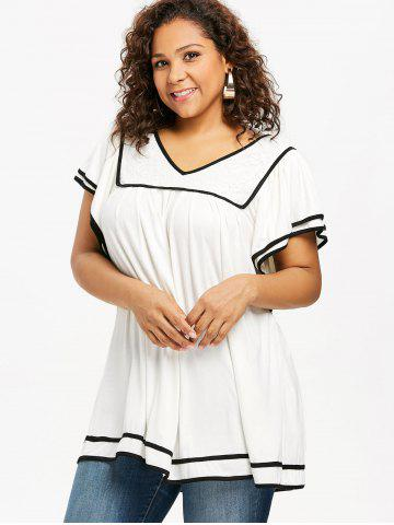 Plus Size Contrast Trim Butterfly Sleeve T-shirt