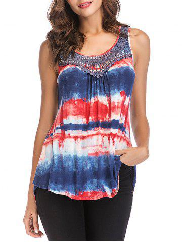 Sleeveless Tie Dye Stripe Irregular Tunic Top